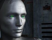 Cara do robô com olhos verdes em um fundo futurista fotografia de stock