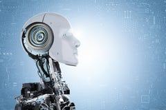 Cara do robô do Humanoid foto de stock