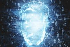 Cara do ` s do homem com dígitos azuis ilustração royalty free