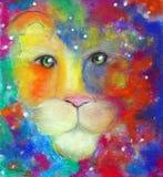 Cara do ` s do leão em uma névoa colorida Foto de Stock