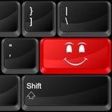 Cara do sorriso do botão do computador Fotos de Stock