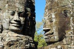 Cara do sorriso no templo de Bayon Foto de Stock