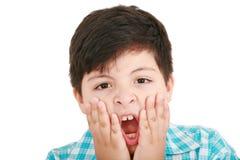 Cara emocionada de un pequeño muchacho Imagen de archivo