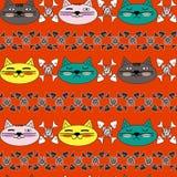 Cara emocional do gato com mordentes brilhantes e os esqueletos preto e branco dos peixes Teste padrão sem emenda Vetor Imagens de Stock Royalty Free