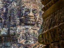 Cara en el templo de Bayon, Angkor Thom Foto de archivo libre de regalías