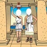 Cara en un agujero. Grecia. stock de ilustración