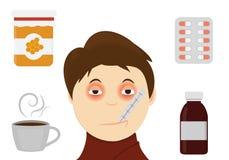 Cara enferma del ` s del muchacho con el ejemplo del vector del termometer Ejemplo frío del tratamiento Imagen de archivo