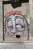 Cara engraçada com a deterioração dental pintada em uma parede Fotos de Stock Royalty Free