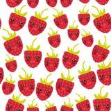Cara engraçada do kawaii suculento fresco maduro vermelho sem emenda das bagas das framboesas do teste padrão com os olhos isolad ilustração royalty free