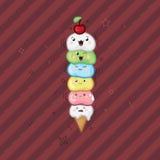 Cara engraçada em uma obscuridade - fundo vermelho do cone do waffle do kawaii do gelado Imagens de Stock Royalty Free