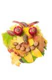Cara enojada hecha de las hojas de la caída del otoño y de las decoraciones de la caída Foto de archivo