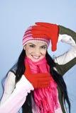 Cara feliz de la mujer del invierno imagenes de archivo