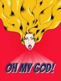 Cara femenina con el pelo brillante que dice oh a mi dios libre illustration