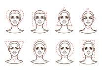 Cara femenina de diversos tipos de aspecto Imágenes de archivo libres de regalías