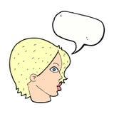 cara femenina de la historieta que mira fijamente con la burbuja del discurso Fotografía de archivo
