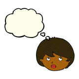 cara femenina de la historieta que mira hacia arriba con la burbuja del pensamiento Imagen de archivo libre de regalías