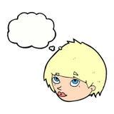 cara femenina de la historieta que mira para arriba con la burbuja del pensamiento Foto de archivo