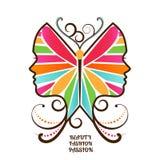 Cara femenina de la mariposa Fotos de archivo libres de regalías