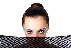 Cara femenina hermosa de la manera Imágenes de archivo libres de regalías