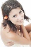 Cara femenina hermosa en la sesión del balneario Fotos de archivo libres de regalías