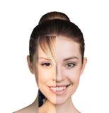 Cara femenina humana hecha de varia diversa parte fotos de archivo