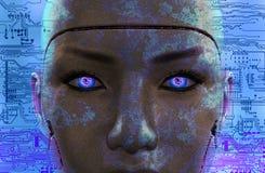 Cara femenina oscura del robot imagen de archivo