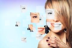 Cara femenina perfecta hecha de diversas caras imagen de archivo