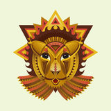 Cara geométrica del león de círculos, de triángulos y de otro Imágenes de archivo libres de regalías