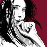 Cara gritadora de la mujer de la muchacha Emociones humanas Vector ilustración del vector
