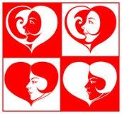 Cara hermosa de la muchacha en dimensión de una variable del corazón ilustración del vector