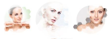 Cara hermosa de la muchacha joven y sana en collage Cirugía plástica, cuidado de piel, cosméticos y concepto de la elevación de c Fotografía de archivo libre de regalías
