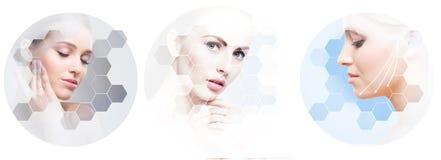 Cara hermosa de la muchacha joven y sana en collage Cirugía plástica, cuidado de piel, cosméticos y concepto de la elevación de c imagenes de archivo