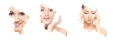 Cara hermosa de la muchacha joven y sana en collage Cirugía plástica, cuidado de piel, cosméticos y concepto de la elevación de c fotos de archivo libres de regalías