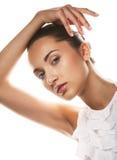 Cara hermosa de la mujer de la salud con la piel limpia de la pureza Foto de archivo libre de regalías