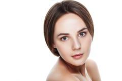 Cara hermosa de la mujer joven con la piel fresca limpia Retrato wo Fotos de archivo