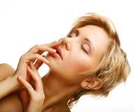 Cara hermosa de la mujer de la salud con la piel limpia de la pureza fotografía de archivo libre de regalías