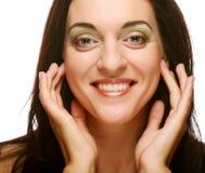 Cara hermosa de la mujer de la salud con la piel limpia de la pureza foto de archivo