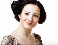 Cara hermosa de la mujer de la salud con la piel limpia de la pureza - aislada encendido foto de archivo libre de regalías