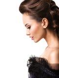 Cara hermosa de una mujer atractiva joven Retrato del perfil Imagenes de archivo