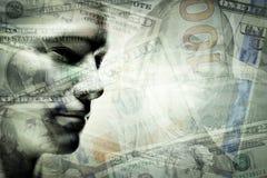 Cara humana del hombre y dólares de exposición doble Imagen de archivo