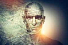 Cara humana del hombre y dólares de exposición doble Fotos de archivo libres de regalías