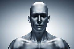 Cara humana genérica del hombre, vista delantera futurista ilustración del vector