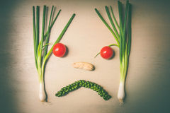 cara infeliz do legume fresco da mistura Fotos de Stock