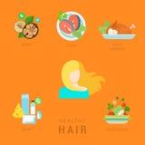 Cara infographic de la aptitud de la dieta del pelo del vector plano sano de la forma de vida stock de ilustración
