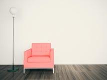 CARA interior moderna mínima de la butaca UNA PARED EN BLANCO Fotos de archivo