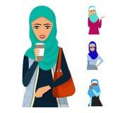 Cara islâmica da menina da nacionalidade árabe adulta árabe de Ásia do caráter da mulher na ilustração do vetor do hijab ilustração stock