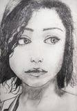 Cara linda de la chica joven, dibujada en lápiz, drenaje de la mano stock de ilustración