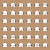 Cara linda de la emoción del sello en el diverso expession, línea editable icono ilustración del vector