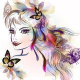 Cara linda de las muchachas con estilo largo del bosquejo del pelo Foto de archivo
