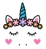 Cara linda del unicornio con las flores en colores pastel del arco iris aisladas stock de ilustración